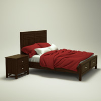 Wooden Bed and nightstand set