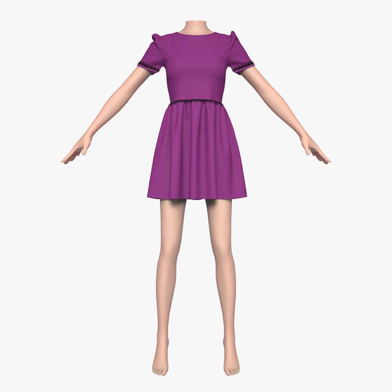 3ds cloth female mannequin