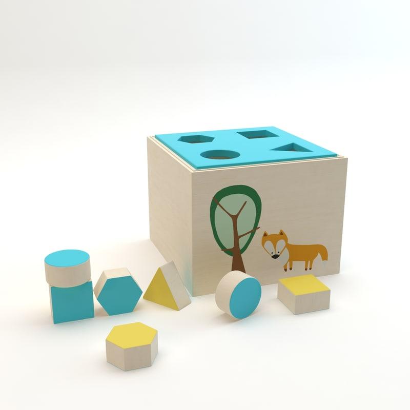 3d model sebra wooden shape sorter