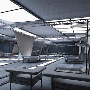 3d model modern futuristic interior