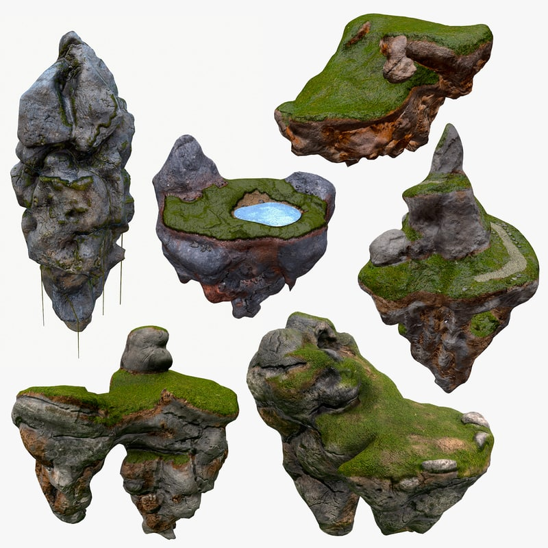 floating islands x6 package 3d model