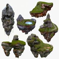 floating islands x6 package 3d model