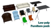 Low poly furniture pack PBR
