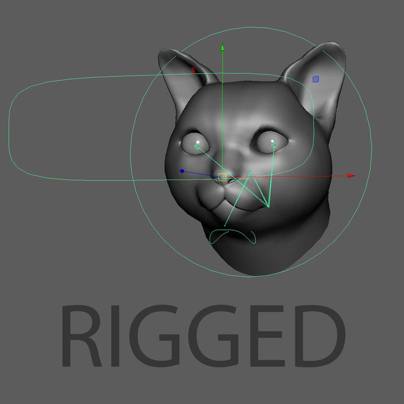 russian gray cat head obj