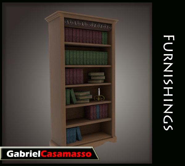 complete bookcase fbx