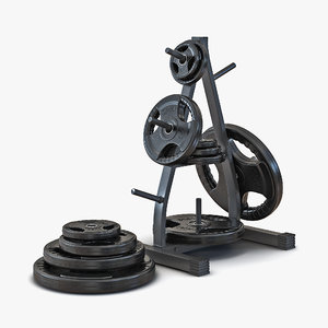 weight plate tree set 3d model