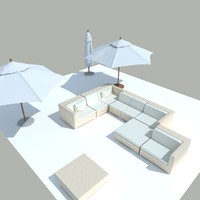 3d model outdoor umbrella seating