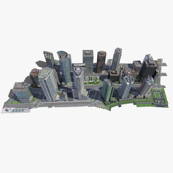 city block buildings 3d model