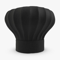 3d model realistic chef hat black