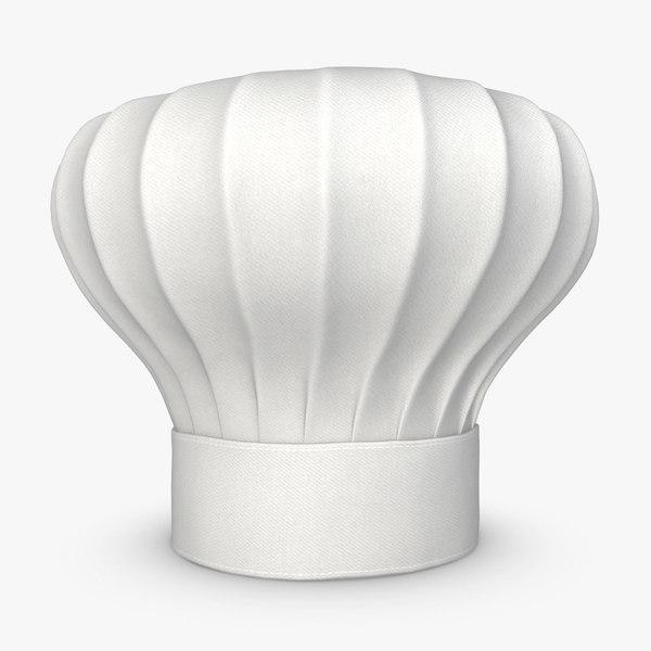 3d realistic chef hat white