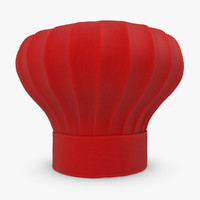 realistic chef hat red 3d 3ds