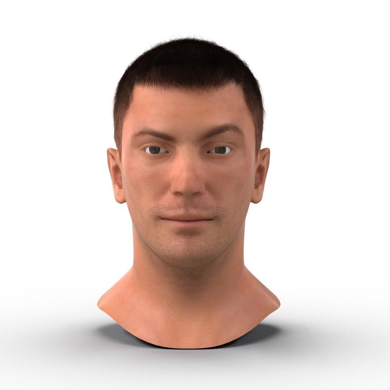 3d model male head hair rigged