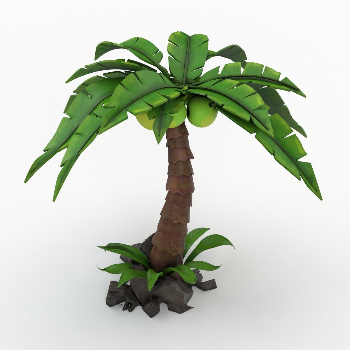 Palmeira Dos Desenhos Animados Modelo 3d Turbosquid 1001854