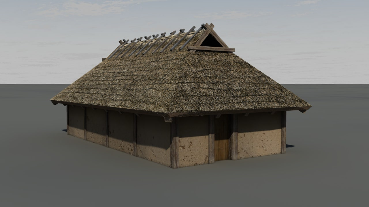 c4d medieval wooden house