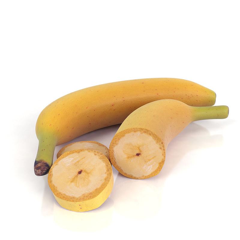 3d realistic banana set model