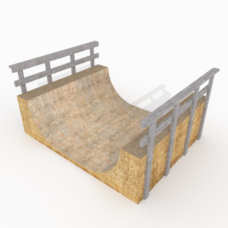 3d simple wooden halfpipe