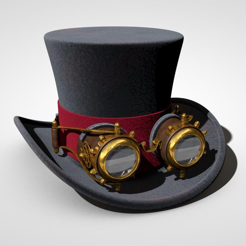 steampunk hat 3d c4d