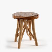 3d model teak bar stool