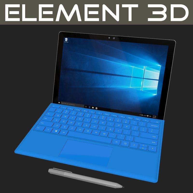 realistic element microsoft pro 4 3d model