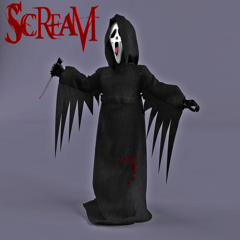 3d scream ghost face model