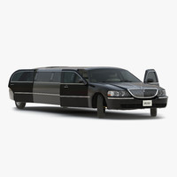 Lincoln Stretch Car Limousine Black Rigged 3D Model
