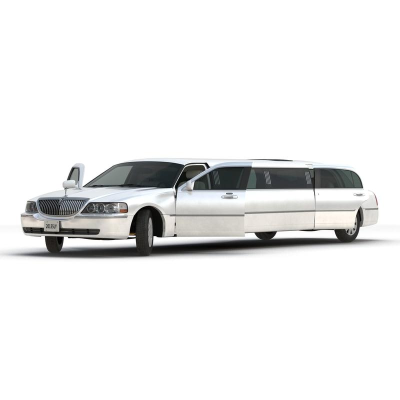 3d Model Stretch Car Limousine White