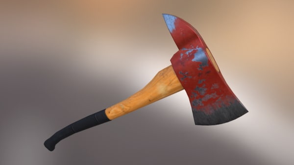3d axe iron wood model