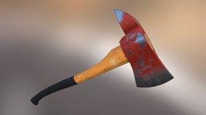 3d axe iron wood model