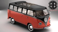 volkswagen type 2 samba 3d model