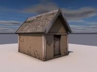 wooden pit house 3d c4d