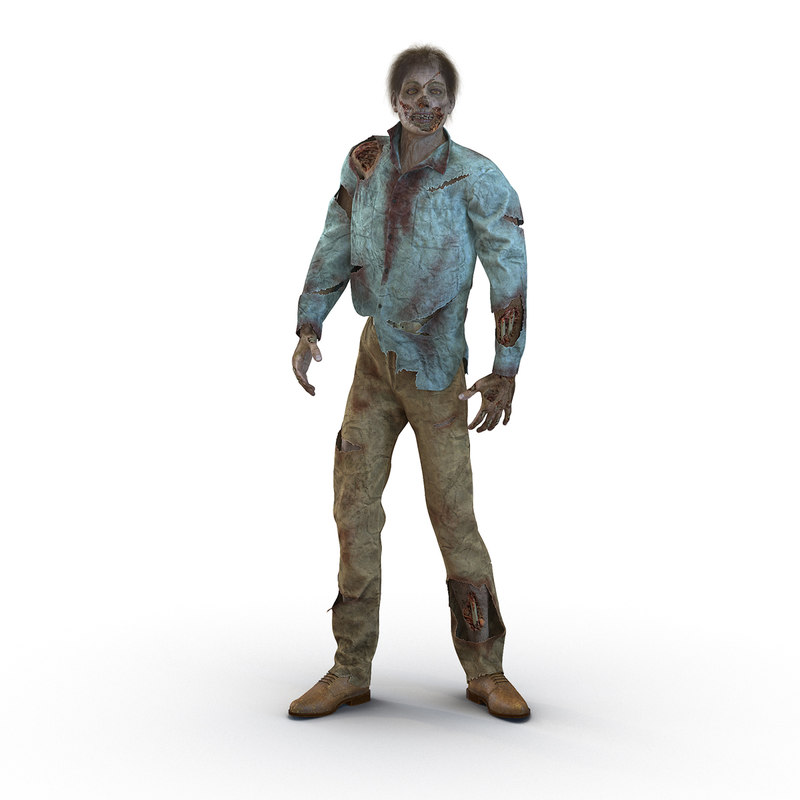 3d zombie rigged hair modeled