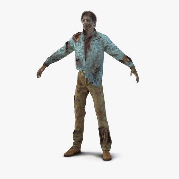 zombie hair modeled 3d model
