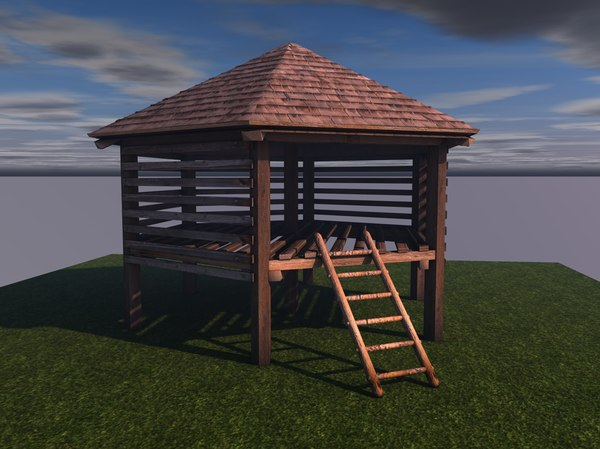 wooden storage house c4d