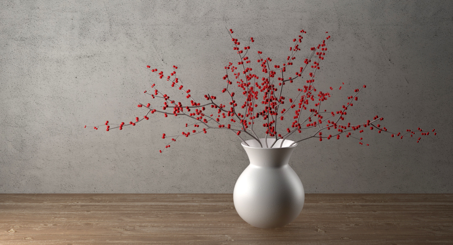 3d max photorealistic branches berries vase