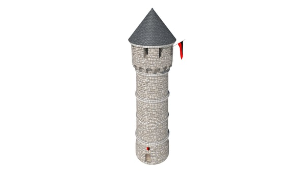 3d watch tower medieval fantasy