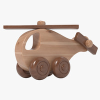 wooden copter toy realistic wood 3d ma