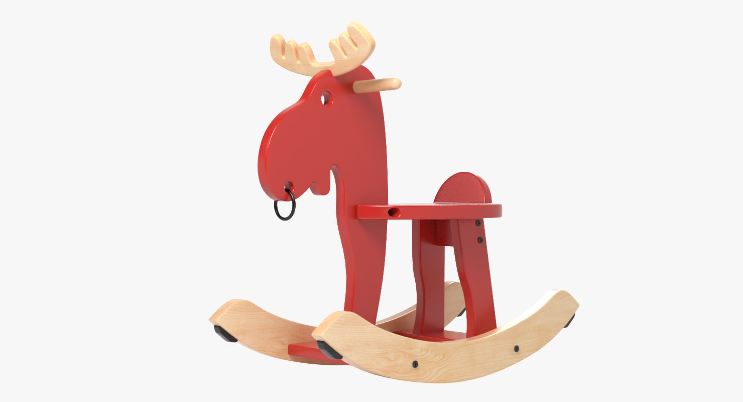 3d wooden moose toy model