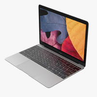 3d apple macbook space gray model