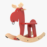 3d wooden moose toy model