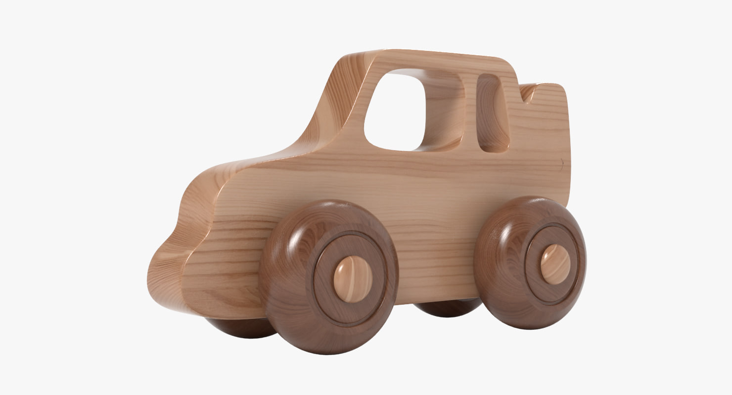 3d model wooden car toy realistic wood