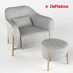 3d model armchair pouf philippe