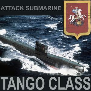 3d tango class attack submarine model