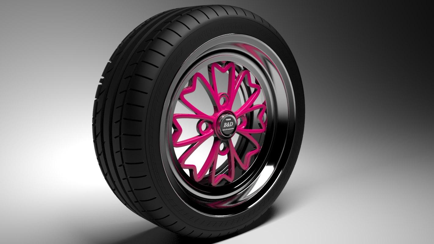 3d model old school wheel