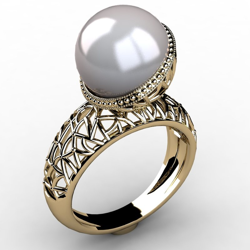 3d model ring pearl