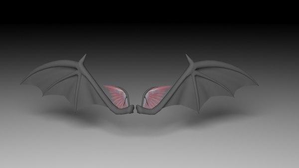 3d demon wing