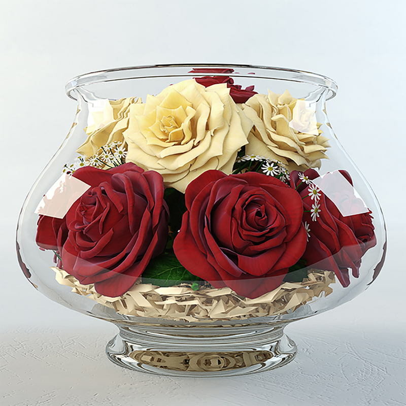 3d model roses aquarium