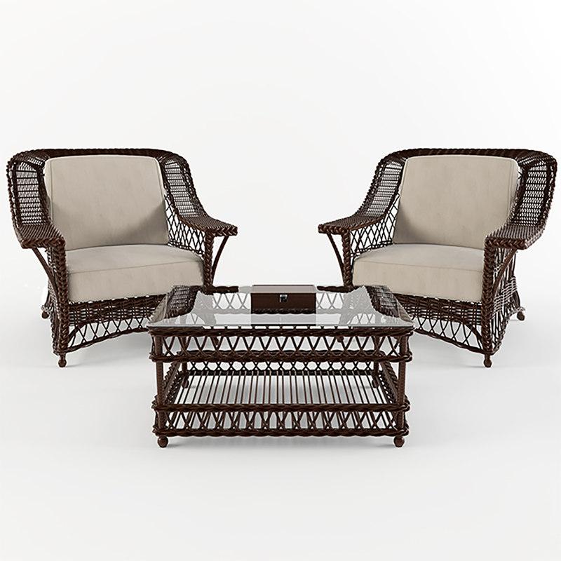 wicker armchair chair 3d max