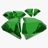 3d fractured emerald