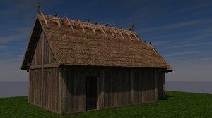 c4d slavic medieval wooden church