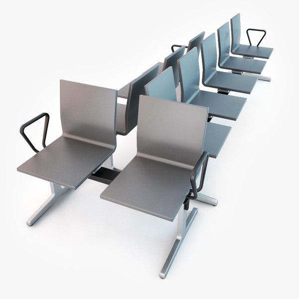 vitra waiting chairs set 3d model